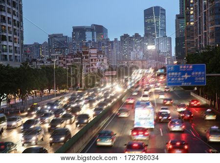 Guangzhou in the evening the crowded urban traffic in China