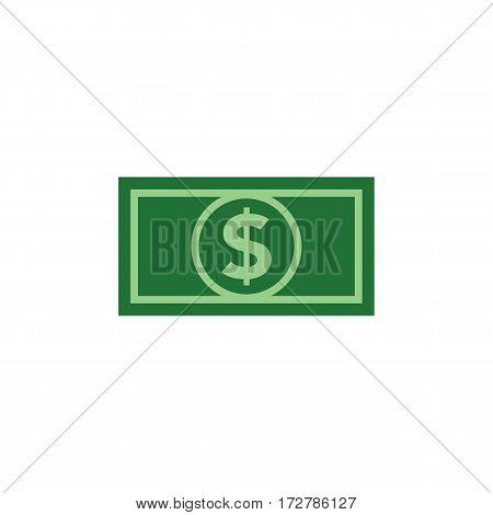Dollar bill icon in flat green colors. Minimalistic design.