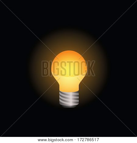 Light bulb icon shining brightly. Colored version on a black background. Minimalistic design.