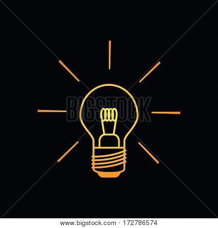 Light bulb icon shining brightly in yellow orange colors on a black background. Minimalistic design.