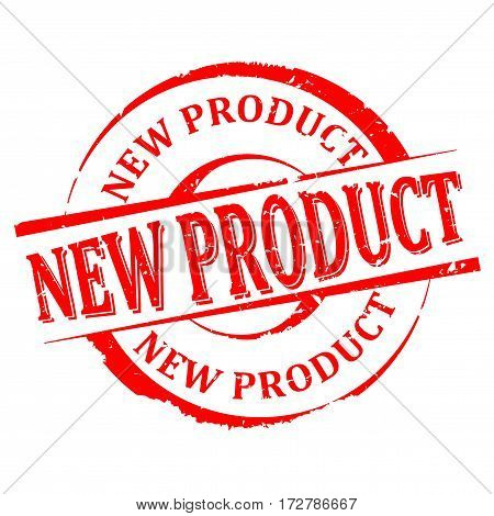 Scratched round red stamp with the word - new product - Vector