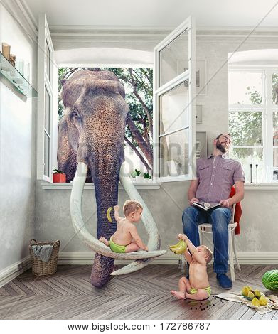 children fed the elephant through a window, while his father sleeping.  Photo combination concept
