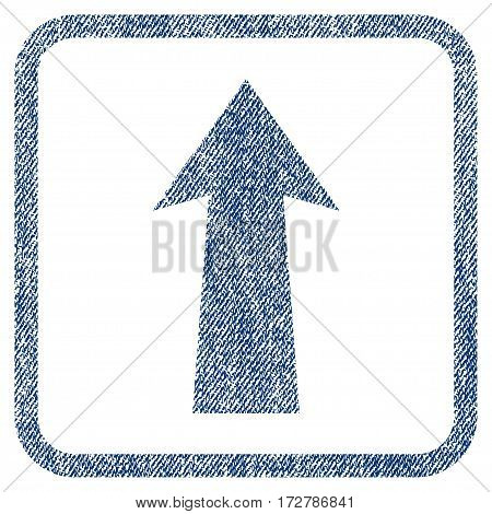 Arrow Up vector textured icon for overlay watermark stamps. Blue jeans fabric vectorized texture. Symbol with dirty design inside rounded rectangle.