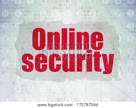 Privacy concept: Painted red text Online Security on Digital Data Paper background with  Scheme Of Hexadecimal Code