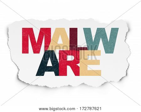 Privacy concept: Painted multicolor text Malware on Torn Paper background