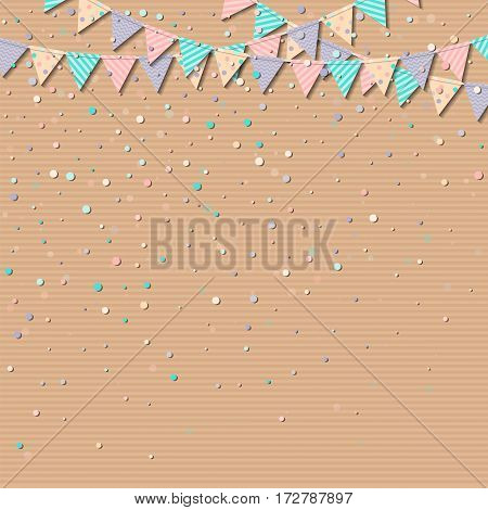 Flag Garland. Wonderful Celebration Card With Colorful Paper Flag Garland And Confetti. Party Backgr