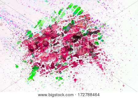 Watercolor abstract background painting, hand drawn on paper grain texture. Pink, green. For modern pattern, wallpaper, banner design.