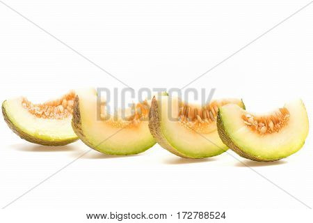 Yellow Melon Slice Isolated On White, Copy Space