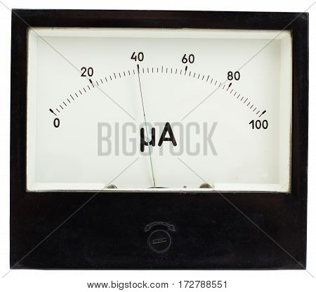 Black square analog ampermeter isolated on white background with 40 uA reading on scale.
