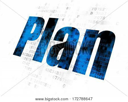 Finance concept: Pixelated blue text Plan on Digital background