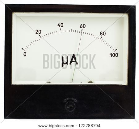 Black square analog ampermeter isolated on white background with 60 uA reading on scale.