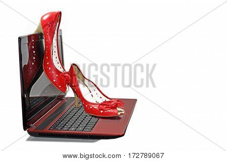 Woman red shoes on laptop. Isolated on white background.