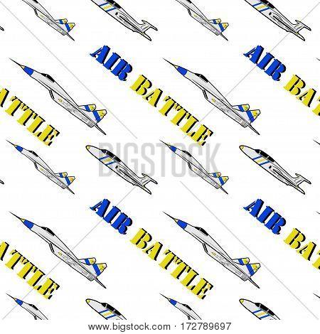 vector seamless pattern military aircraft air battle