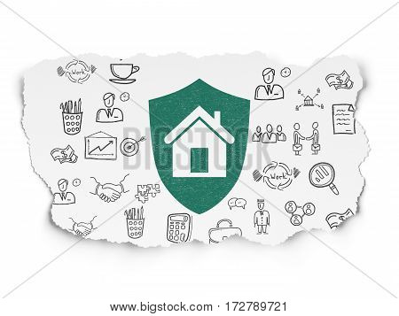 Finance concept: Painted green Shield icon on Torn Paper background with  Hand Drawn Business Icons