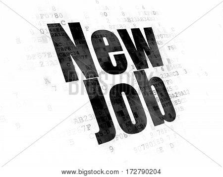 Finance concept: Pixelated black text New Job on Digital background