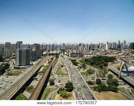 Aerial View of Radial Leste Avenue, in Sao Paulo, Brazil