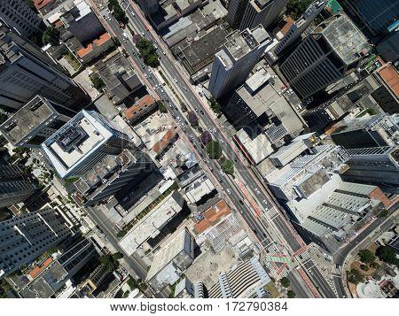 Top View of Consolacao Avenue, Sao Paulo, Brazil