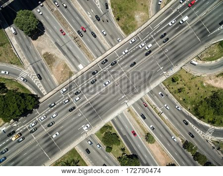 Top View of Radial Leste Avenue, in Sao Paulo, Brazil