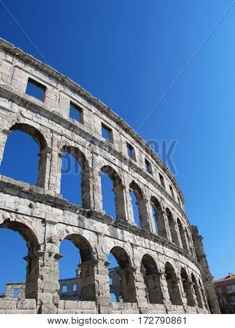 Historic coliseum isolated in the city of Pula in Croatia