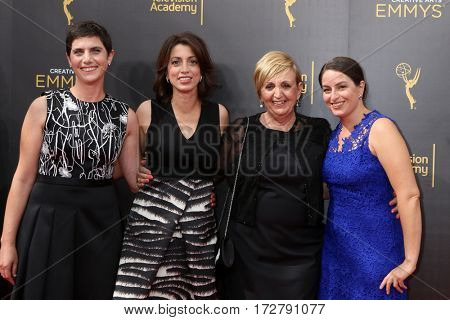 LOS ANGELES - SEP 11:  Moira Demos, Laura Ricciardi, Guest at the 2016 Primetime Creative Emmy Awards - Day 2 - Arrivals at the Microsoft Theater on September 11, 2016 in Los Angeles, CA