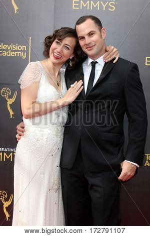 LOS ANGELES - SEP 11:  Kristen Schaal, Husband at the 2016 Primetime Creative Emmy Awards - Day 2 - Arrivals at the Microsoft Theater on September 11, 2016 in Los Angeles, CA