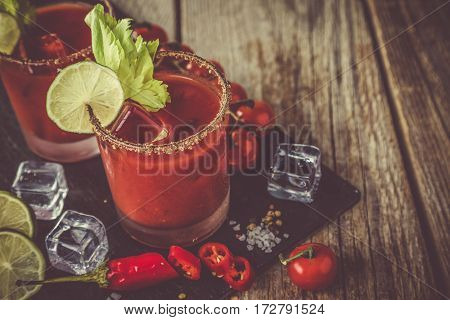 Bloody mary cocktail and ingredients, copy space