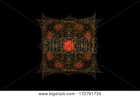 abstract fractal golden green and red symmetric figure on black