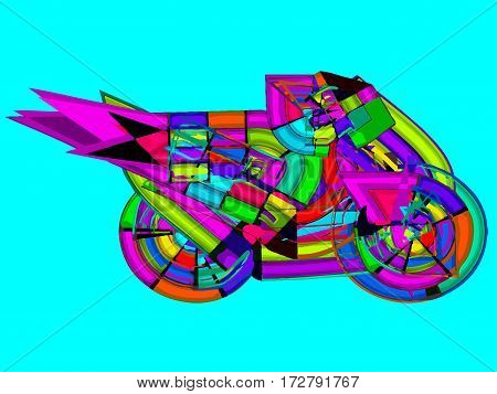 Abstract motor cycle colorful ride speed sport travel vehicle