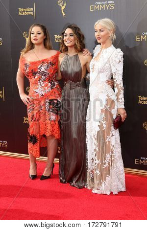 LOS ANGELES - SEP 11:  Kether Donohue, Vanessa Hudgens, Julianne Hough at the 2016 Primetime Creative Emmy Awards - Day 2 - Arrivals at the Microsoft Theater on September 11, 2016 in Los Angeles, CA
