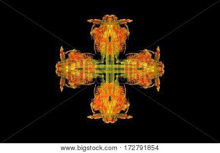 abstract fractal golden green symmetrical cross figure on black