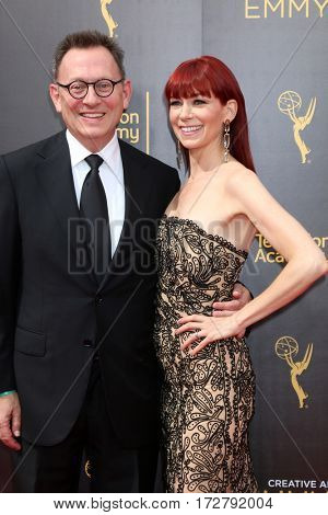 LOS ANGELES - SEP 10:  Michael Emerson, Carrie Preston at the 2016 Creative Arts Emmy Awards - Day 1 - Arrivals at the Microsoft Theater on September 10, 2016 in Los Angeles, CA