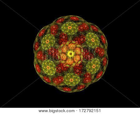 abstract fractal golden green symmetrical sphere figure on black