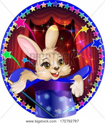 Circus magician rabbit peeping out of a hat. Vector image.
