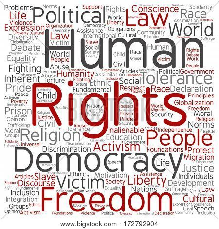 Concept or conceptual human rights political freedom or democracy square word cloud isolated on background