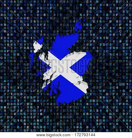 Scotland map flag on hex code 3d illustration