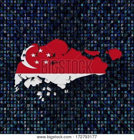 Singapore map flag on hex code 3d illustration