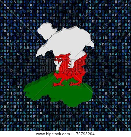 Wales map flag on hex code 3d illustration