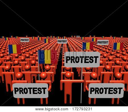 Crowd of people with protest signs and Romanian flags 3d illustration