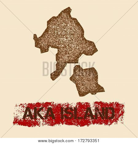 Aka Island Distressed Map. Grunge Patriotic Poster With Textured Island Ink Stamp And Roller Paint M