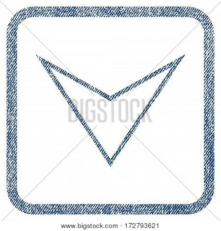 Arrowhead Down vector textured icon for overlay watermark stamps. Blue jeans fabric vectorized texture. Symbol with unclean design inside rounded rectangle.