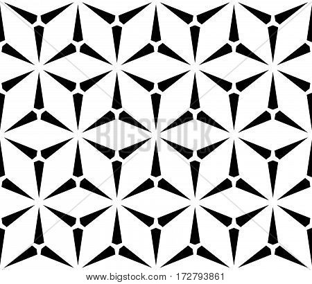 Vector seamless pattern, simple geometric triangular texture. Illustration of windmills, fans. Abstract black & white endless background, repeat tiles. Design element for prints, decoration, textile, cover, funriture, digital, web