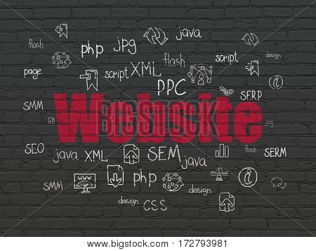 Web development concept: Painted red text Website on Black Brick wall background with  Hand Drawn Site Development Icons