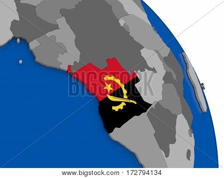 Angola And Its Flag On Globe