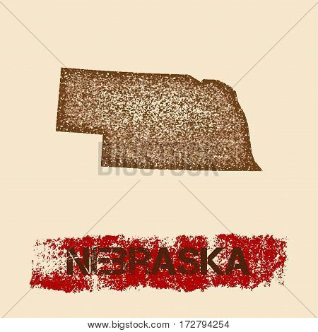 Nebraska Distressed Map. Grunge Patriotic Poster With Textured State Ink Stamp And Roller Paint Mark