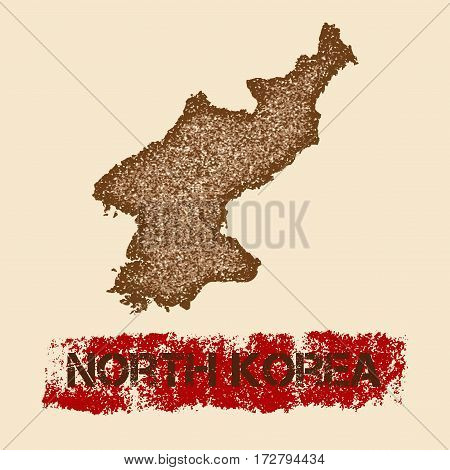 North Korea Distressed Map. Grunge Patriotic Poster With Textured Country Ink Stamp And Roller Paint