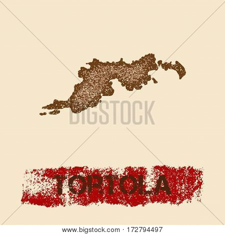 Tortola Distressed Map. Grunge Patriotic Poster With Textured Island Ink Stamp And Roller Paint Mark