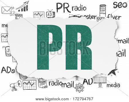Advertising concept: Painted green text PR on Torn Paper background with  Hand Drawn Marketing Icons