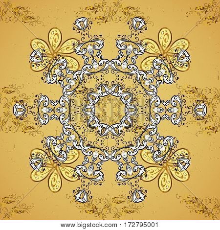 Royal luxury golden baroque damask vintage. Vector with gold antique floral medieval decorative leaves and golden pattern ornaments on yellow background.