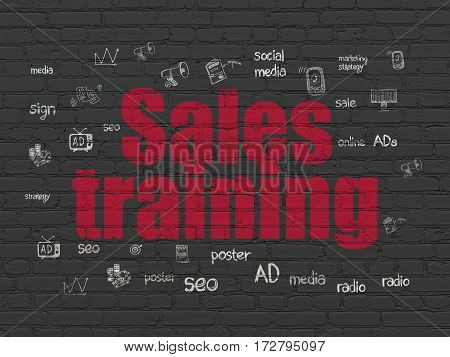 Advertising concept: Painted red text Sales Training on Black Brick wall background with  Hand Drawn Marketing Icons