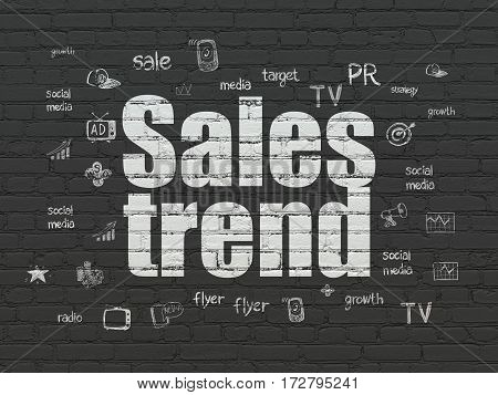 Advertising concept: Painted white text Sales Trend on Black Brick wall background with  Hand Drawn Marketing Icons